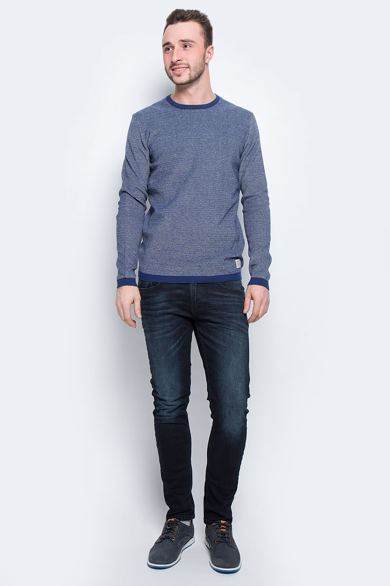 Джемпер мужской Tom Tailor Denim, цвет: темно-синий, белый. 3021631.00.12_6814. Размер XL (52) джемпер мужской tom tailor denim цвет бордовый 3022104 01 12 4257 размер xl 52