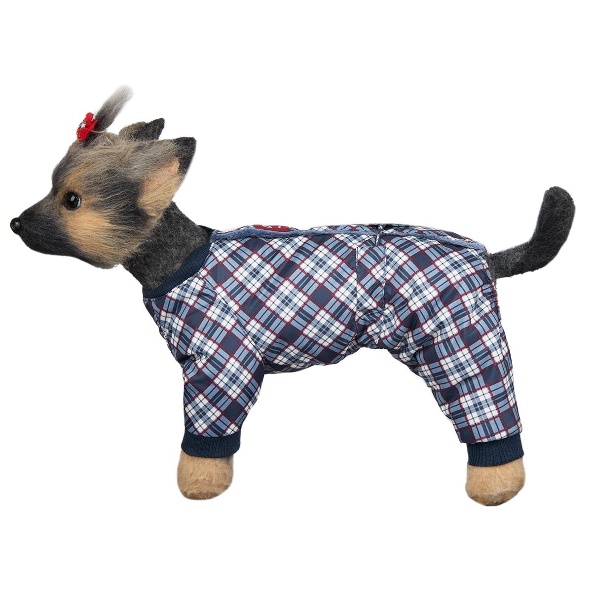 Комбинезон для собак Dogmoda Нью-Йорк, зимний, для мальчика, цвет: белый, темно-синий. Размер 2 (M) комбинезоны для животных dogmoda комбинезон doggs active 70 сука
