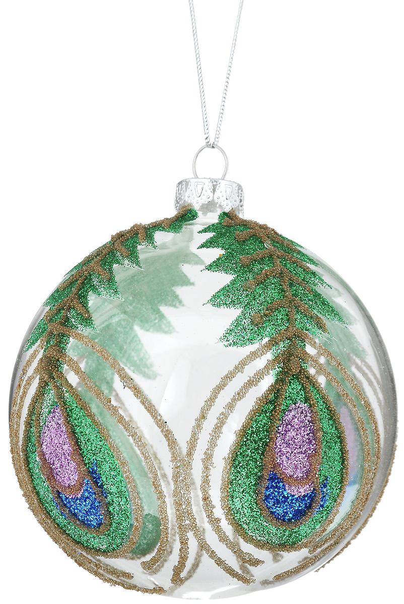 Украшение новогоднее подвесное Winter Wings Павлин, диаметр 8 см. N07675N07675Новогоднее подвесное украшение Winter Wings Павлин выполнено из стекла в виде шара и украшено блестками. С помощью специальной петельки украшение можно повесить в любом понравившемся вам месте. Но, конечно, удачнее всего оно будет смотреться на праздничной елке.Елочная игрушка - символ Нового года. Она несет в себе волшебство и красоту праздника. Создайте в своем доме атмосферу веселья и радости, украшая новогоднюю елку нарядными игрушками, которые будут из года в год накапливать теплоту воспоминаний.