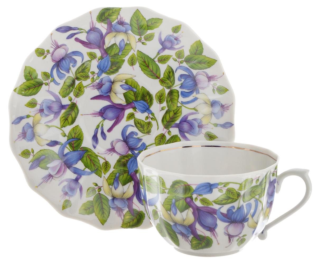 Чайная пара Фарфор Вербилок Фуксия, 2 предмета чайная пара фарфор вербилок маки 2 предмета 29951530
