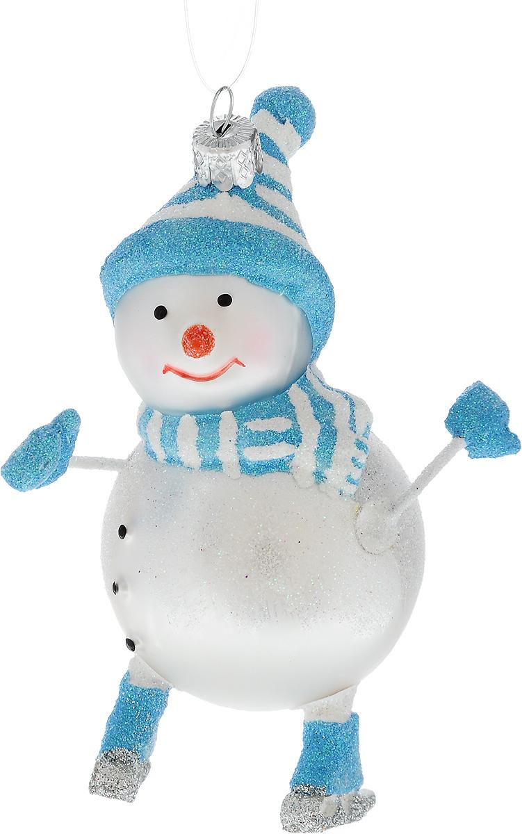 Украшение новогоднее подвесное Winter Wings Снеговик в коньках, высота 11,5 смN07817Новогоднее подвесное украшение Winter Wings Снеговик в коньках выполнено из стекла в виде снеговика и украшено блестками. С помощью специальной петельки украшение можно повесить в любом понравившемся вам месте. Но, конечно, удачнее всего оно будет смотреться на праздничной елке.Елочная игрушка - символ Нового года. Она несет в себе волшебство и красоту праздника. Создайте в своем доме атмосферу веселья и радости, украшая новогоднюю елку нарядными игрушками, которые будут из года в год накапливать теплоту воспоминаний.