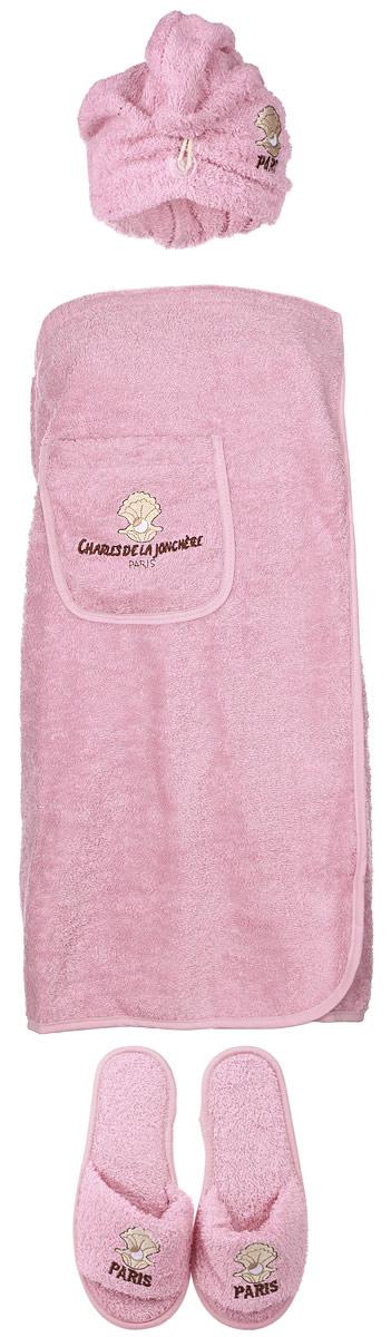 """Набор для бани и сауны Karna """"Paris"""", цвет: коричневый, белый, бледно-розовый, 3 предмета"""