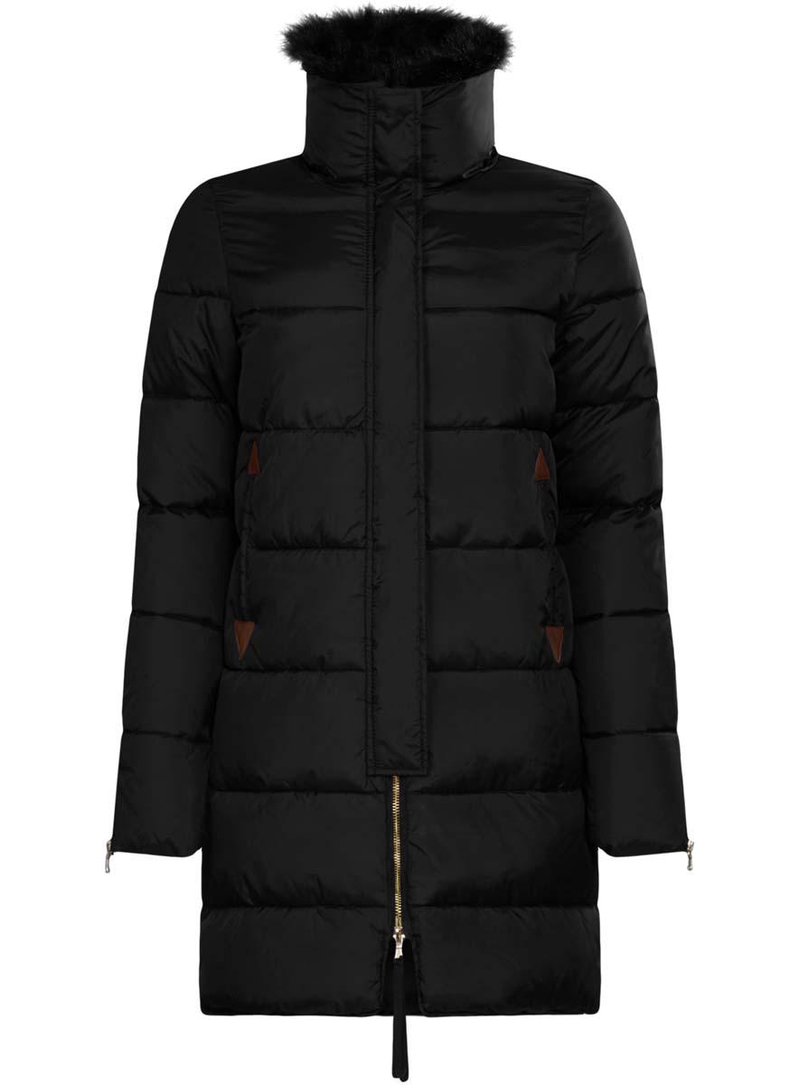 Куртка женская oodji Ultra, цвет: черный. 10203059/45924/2901N. Размер 40 (46-170)10203059/45924/2901NЖенская куртка oodji Ultra выполнена из 100% полиамида. В качестве подкладки и утеплителя используется 100% полиэстер. Модель с отложным воротником застегивается на застежку-молнию с двумя бегунками и имеет ветрозащитную планку на кнопках. Воротник оформлен съемной деталью из искусственного меха. Низ рукавов и боковые швы изделия дополнены застежками-молниями за счет которых можно регулировать объем изделия. Спереди расположено два прорезных кармана.
