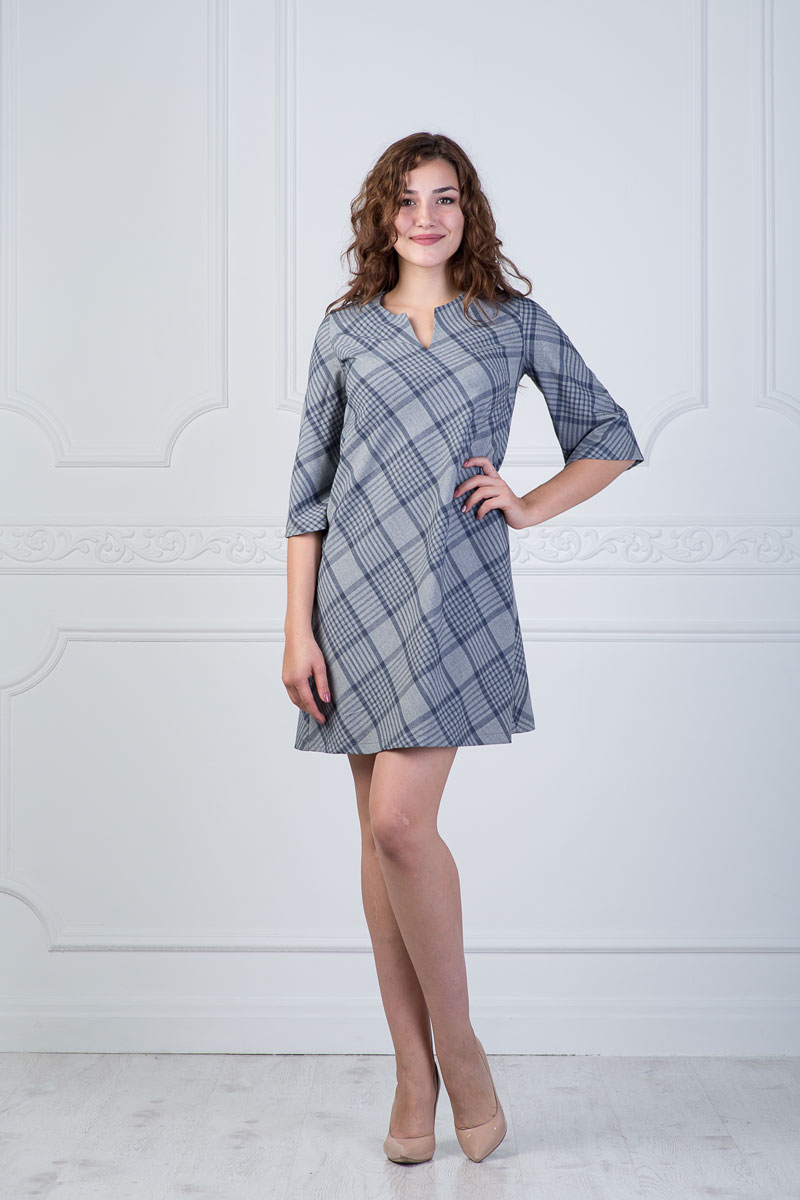 Платье Lautus, цвет: темно-синий, серо-бежевый. 905. Размер 54 платье женское lautus цвет синий 1147 размер 54