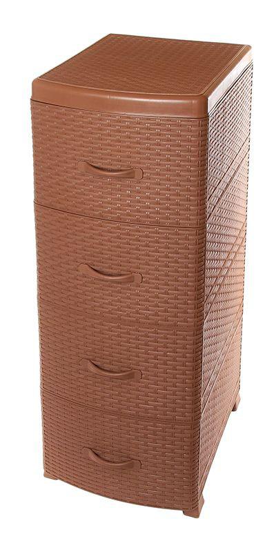 Комод Violet Ротанг, 4-х секционный, цвет: коричневый, 40 х 46 х 94 см0357/17Универсальный комод с 4 выдвижными ящиками выполнен из экологически чистого пластика. Идеально подходит для хранения игрушек и других хозяйственных предметов. Достаточно вместительный, но в то же время компактный. Можно сократить количество ярусов по желанию.Поставляется в разобранном виде. Максимальная нагрузка на 1 ящик комода равна 12 кг.