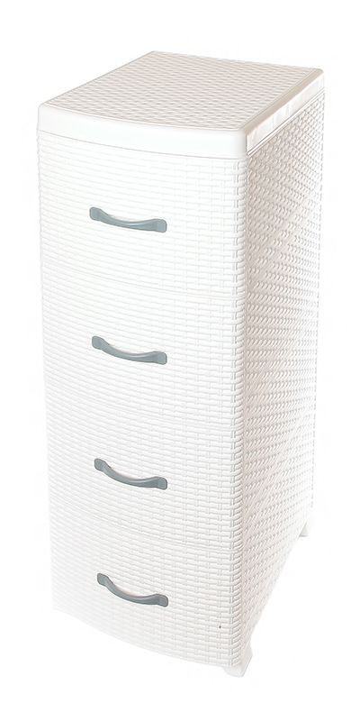Комод Violet Ротанг, 4-х секционный, цвет: белый, 40 х 46 х 95 см бур по бетону 25х210 мм sds plus тип messer bx 25 210