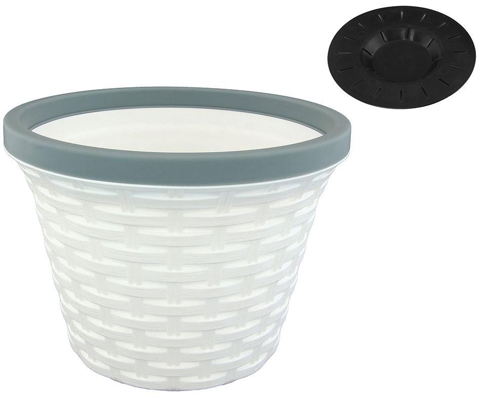 Кашпо Violet Ротанг, с дренажной системой, цвет: белый, 1,1 л32110/6Круглое кашпо Violet Ротанг изготовлено из высококачественного пластика и оснащено дренажной системой для быстрого отведения избытка воды при поливе. Изделие прекрасно подходит для выращивания растений и цветов в домашних условиях. Объем: 1,1 л.