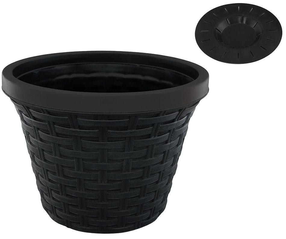 Кашпо Violet Ротанг, с дренажной системой, цвет: черный, 6,5 л32650/7Круглое кашпо Violet Ротанг изготовлено из высококачественного пластика и оснащено дренажной системой для быстрого отведения избытка воды при поливе. Изделие прекрасно подходит для выращивания растений и цветов в домашних условиях. Объем: 6,5 л.