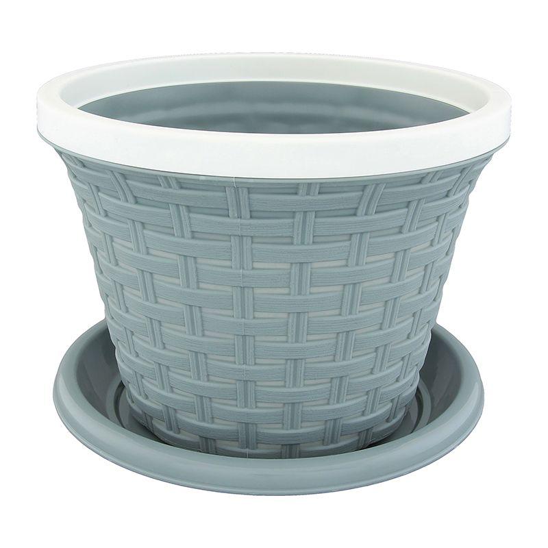 Кашпо Violet Ротанг, с поддоном, цвет: серый, 2,2 л32221/8Классическое кашпо, выполненное из пластика, прекрасно подойдет для выращивания трав и цветов. Имитирующее плетение из ротанга кашпо имеет поддон.Объём кашпо: 2,2 л.