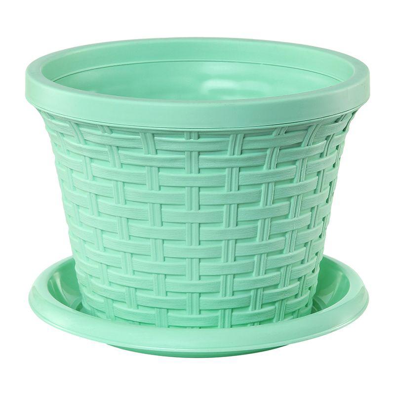 Кашпо Violet Ротанг, с поддоном, цвет: зеленый, 1,1 л32111/18Классическое кашпо, выполненное из пластика, прекрасно подойдет для выращивания трав и цветов. Имитирующее плетение из ротанга кашпо имеет поддон.Объём кашпо: 1,1 л.