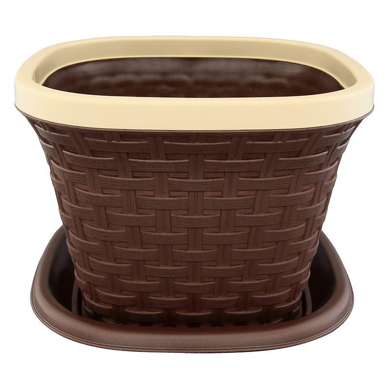 """Кашпо квадратное Violet """"Ротанг"""", с поддоном, цвет: темно-коричневый, 1,3 л"""