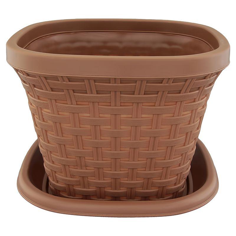 Кашпо квадратное Violet Ротанг, с поддоном, цвет: какао, 1,3 л33131/17Квадратное кашпо, выполненное из пластика, прекрасно подойдет для выращивания трав и цветов. Имитирующее плетение из ротанга кашпо имеет поддон.Объём кашпо: 1,3 л.