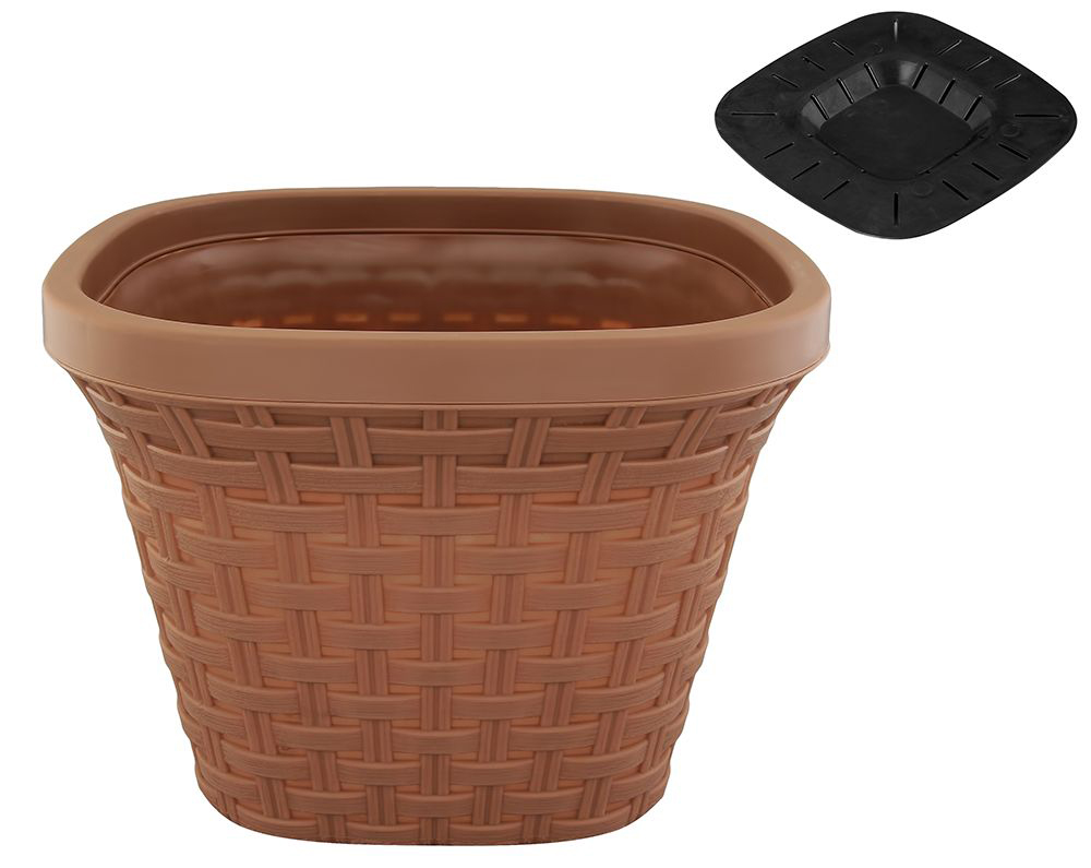 """Кашпо квадратное Violet """"Ротанг"""", с дренажной системой, цвет: какао, 7,5 л"""
