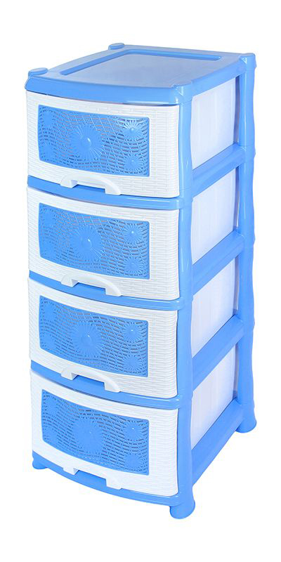 Комод Violet Ромашка, 4-х секционный, цвет: голубой, 40 х 46 х 94 см0354Универсальный комод с 4 выдвижными ящиками выполнен из экологически чистого пластика. Идеально подходит для хранения игрушек и других хозяйственных предметов. Достаточно вместительный, но в то же время компактный. Можно сократить количество ярусов по желанию.Поставляется в разобранном виде. Максимальная нагрузка на 1 ящик комода равна 12 кг.