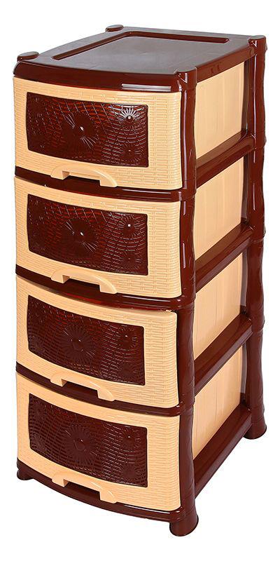 Комод Violet Ромашка, 4-х секционный, цвет: коричневый, 40 х 46 х 94 см гладильный комод he wang с 3 корзинами и 2 ящиками цвет коричневый горчичный