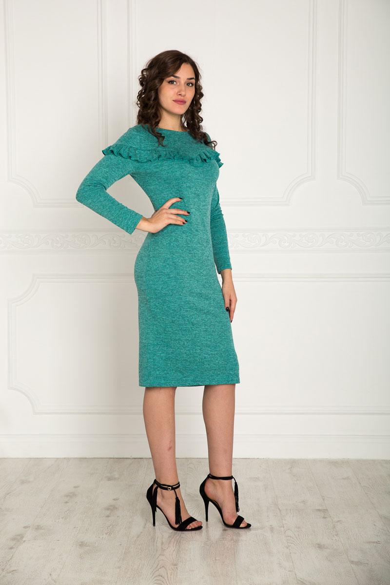 Купить Платье Lautus, цвет: серо-зеленый. 915. Размер 46