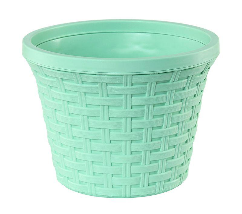 Кашпо Violet Ротанг, с дренажной системой, цвет: зеленый, 6,5 л32650/18Круглое кашпо Violet Ротанг изготовлено из высококачественного пластика и оснащено дренажной системой для быстрого отведения избытка воды при поливе. Изделие прекрасно подходит для выращивания растений и цветов в домашних условиях. Объем: 6,5 л.