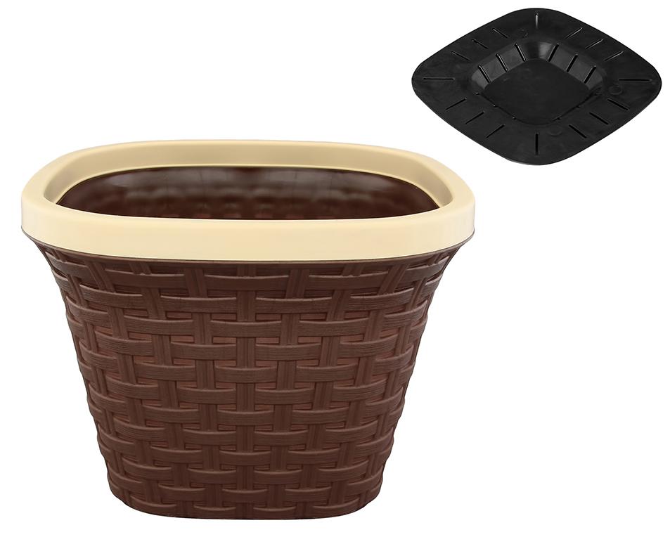 """Кашпо квадратное Violet """"Ротанг"""", с дренажной системой, цвет: темно-коричневый, 7,5 л"""