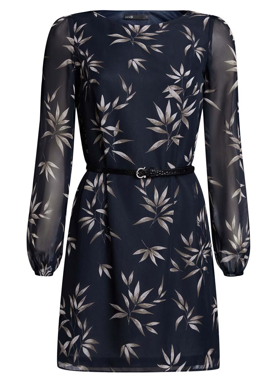 Платье oodji Ultra, цвет: темно-синий, серый. 11900150-5/13632/7923O. Размер 34 (40-170)11900150-5/13632/7923OСтильное платье oodji Ultra выполнено из 100% полиэстера. Модель с круглым вырезом горловины и длинными рукавами оформлена интересным принтом. В комплект входит ремень из искусственной кожи с металлической пряжкой.