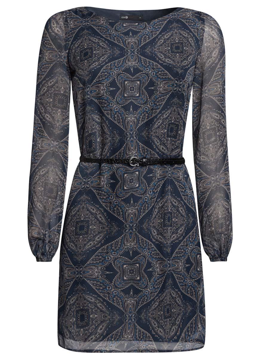 Платье oodji Ultra, цвет: темно-синий, бежевый. 11900150-5/13632/7933E. Размер 40 (46-170)11900150-5/13632/7933EСтильное платье oodji Ultra выполнено из 100% полиэстера. Модель с круглым вырезом горловины и длинными рукавами оформлена интересным принтом. В комплект входит ремень из искусственной кожи с металлической пряжкой.