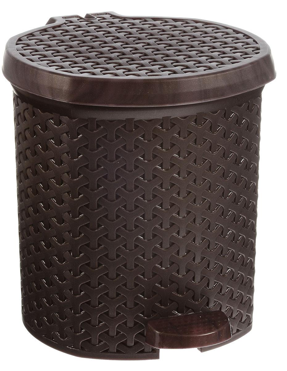Контейнер для мусора Magnolia Home, с педалью, цвет: коричневый, 6 л корзина для прищепок magnolia home цвет малиновый 3 л