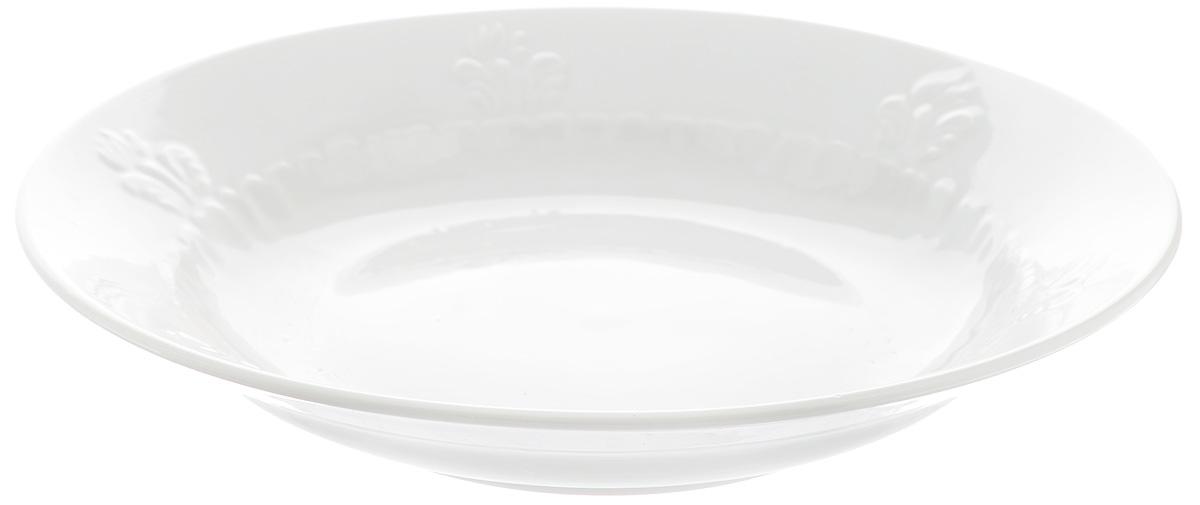 Тарелка глубокая Фарфор Вербилок, диаметр 23 см2260001БГлубокая тарелка Фарфор Вербилок выполнена из высококачественного фарфора и украшена ярким рисунком. Она прекрасно впишется в интерьер вашей кухни и станет достойным дополнением к кухонному инвентарю. Тарелка Фарфор Вербилок подчеркнет прекрасный вкус хозяйки и станет отличным подарком. Диаметр тарелки: 23 см.Высота тарелки: 4 см.