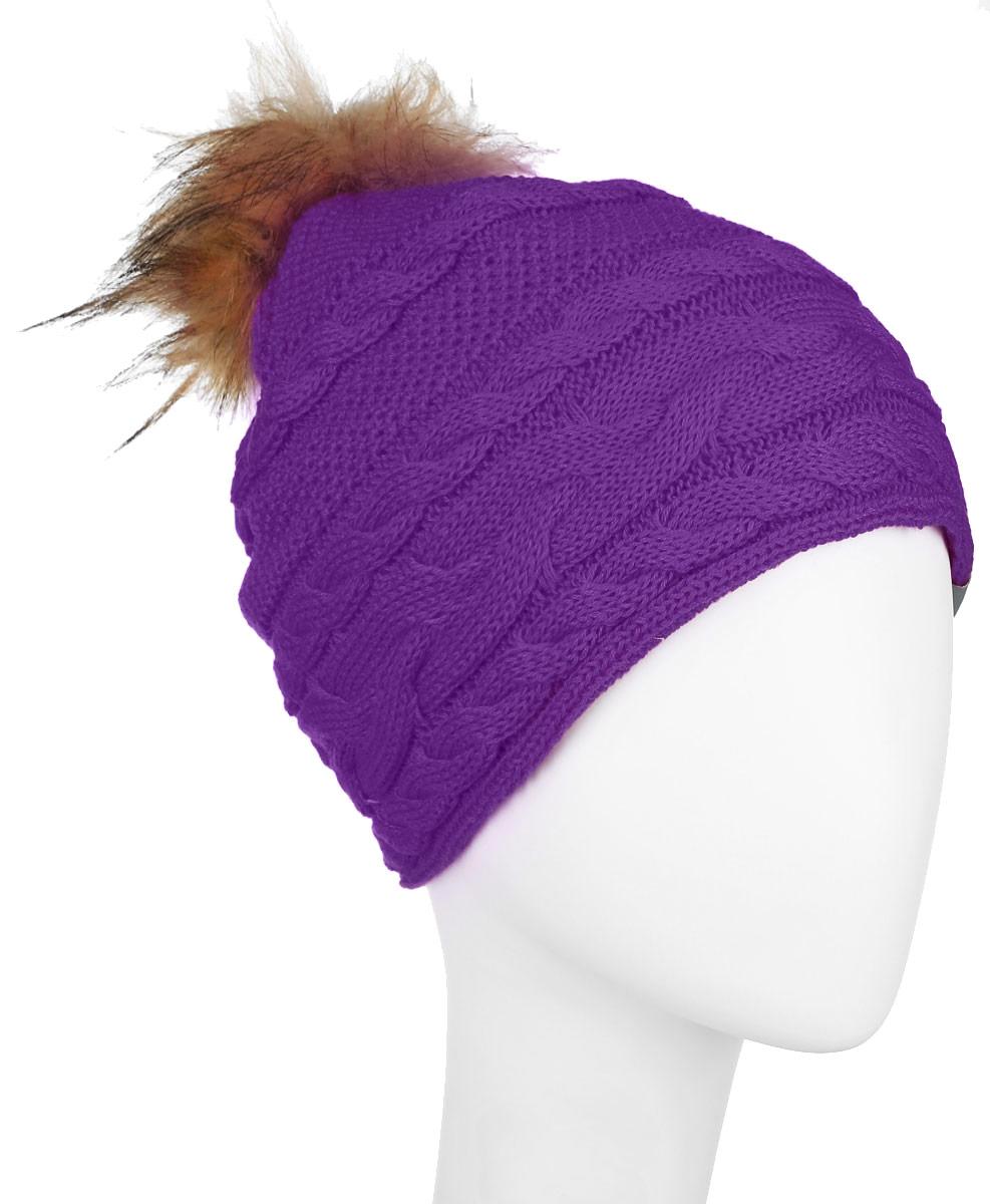 Шапка для девочки Huppa Melissa, цвет: фиолетовый. 80210000-60073. Размер 55/5780210000-60073Вязанная шапка для девочки Huppa Melissa станет отличным дополнением к детскому гардеробу. Изделие изготовлено из натуральной шерсти с добавлением акрила, что обеспечивает тепло и комфорт. Благодаря эластичной вязке, шапка идеально прилегает к голове ребенка.Шапка с пушистым меховым помпоном оформлена вязаным узором, спереди украшена светоотражающей нашивкой с логотипом бренда.Оригинальный дизайн и расцветка делают эту шапку стильным предметом детского гардероба. В ней ребенку будет тепло, уютно и комфортно. Уважаемые клиенты!Размер, доступный для заказа, является обхватом головы.