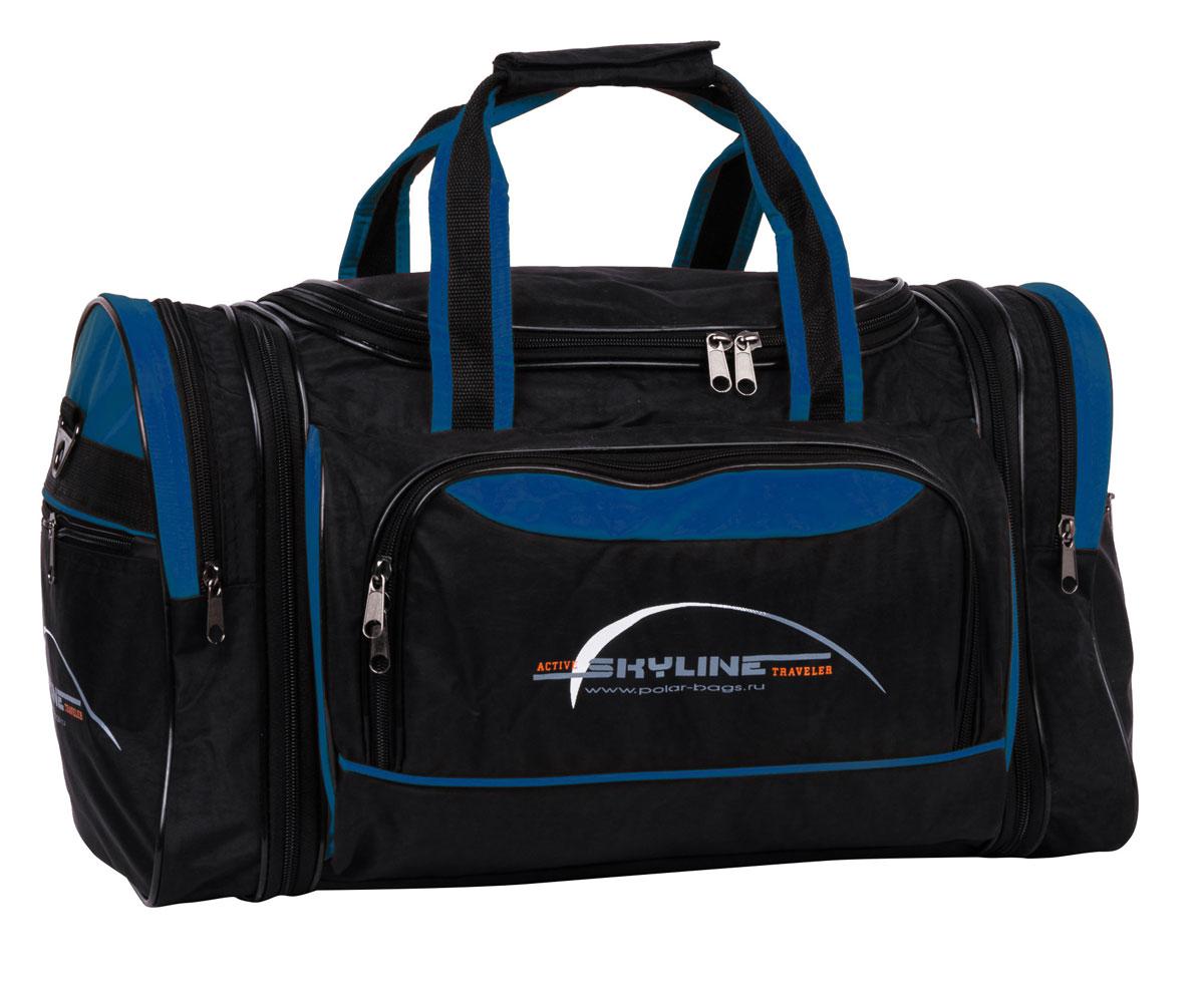 Сумка спортивная Polar Сириус, раздвижная, цвет: черный, синий, 38 л, 47 х 31 х 26 см. 60676067Спортивная сумка Polar Сириус выполнена из полиэстера с водоотталкивающей пропиткой. Это вместительная сумка среднего размера. Онаимеет одно отделение, два боковых кармана и карман на передней части.В комплект входит съемный плечевой ремень.Расширение по бокам сумки на +5 см.Эта сумка идеально подойдет для спорта и отдыха.