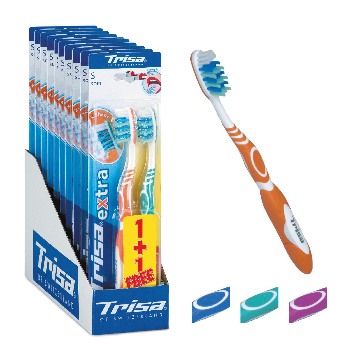 Trisa Зубная щетка Экстра 2 в 1, мягкая626430Зубная щетка Trisa Extra 2 for 1 - мягкая щетина - произведена в Швейцарии в соответствии с новейшими научными разработками. Профилактическая зубная щетка. Многоуровневая перекрестная щетина обеспечивает качественную чистку. На обратной стороне головки пластиковый скребок для языка. Удобный семейный вариант – в упаковке 2 щетки разного цвета по цене 1 щетки.