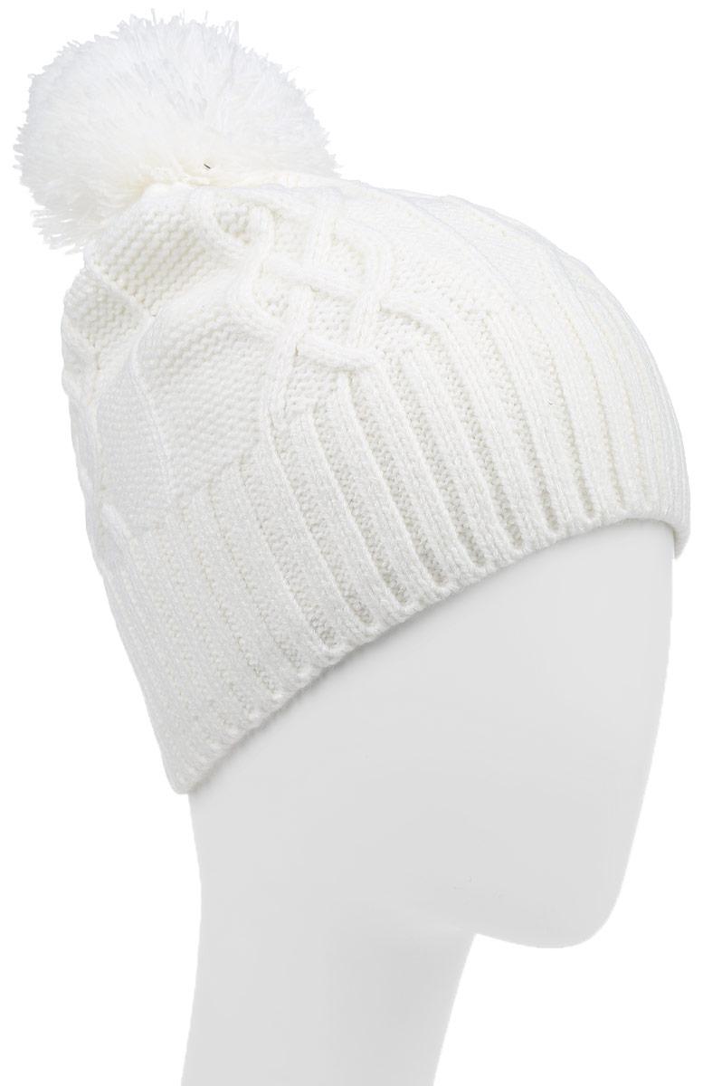 Шапка женская Icepeak, цвет: белый. 655841691IV. Размер универсальный655841691IVСтильная женская шапка Icepeak дополнит ваш наряд и не позволит вам замерзнуть. Шапка выполнена из акриловой пряжи, что позволяет ей великолепно сохранять тепло, и имеет подкладку из мягкого полиэстера. Модель дополнена пушистым помпоном и металлической нашивкой с логотипом бренда.