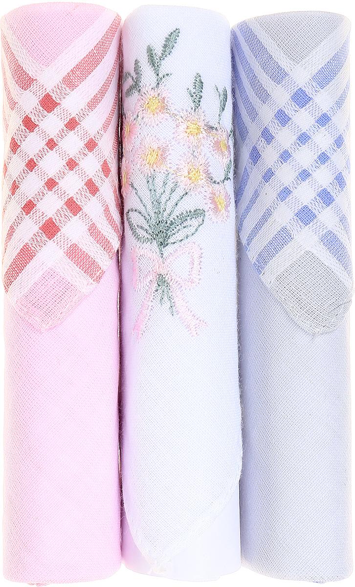 Платок носовой женский Zlata Korunka, цвет: розовый, белый, голубой, 3 шт. 40423-118. Размер 28 см х 28 см