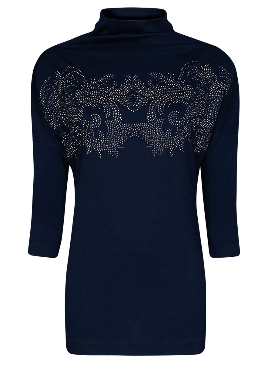 Джемпер женский oodji Collection, цвет: темно-синий. 24808005-1/37809/7991P. Размер XS (42) платье oodji collection цвет синий 24007026 37809 7500n размер l 48