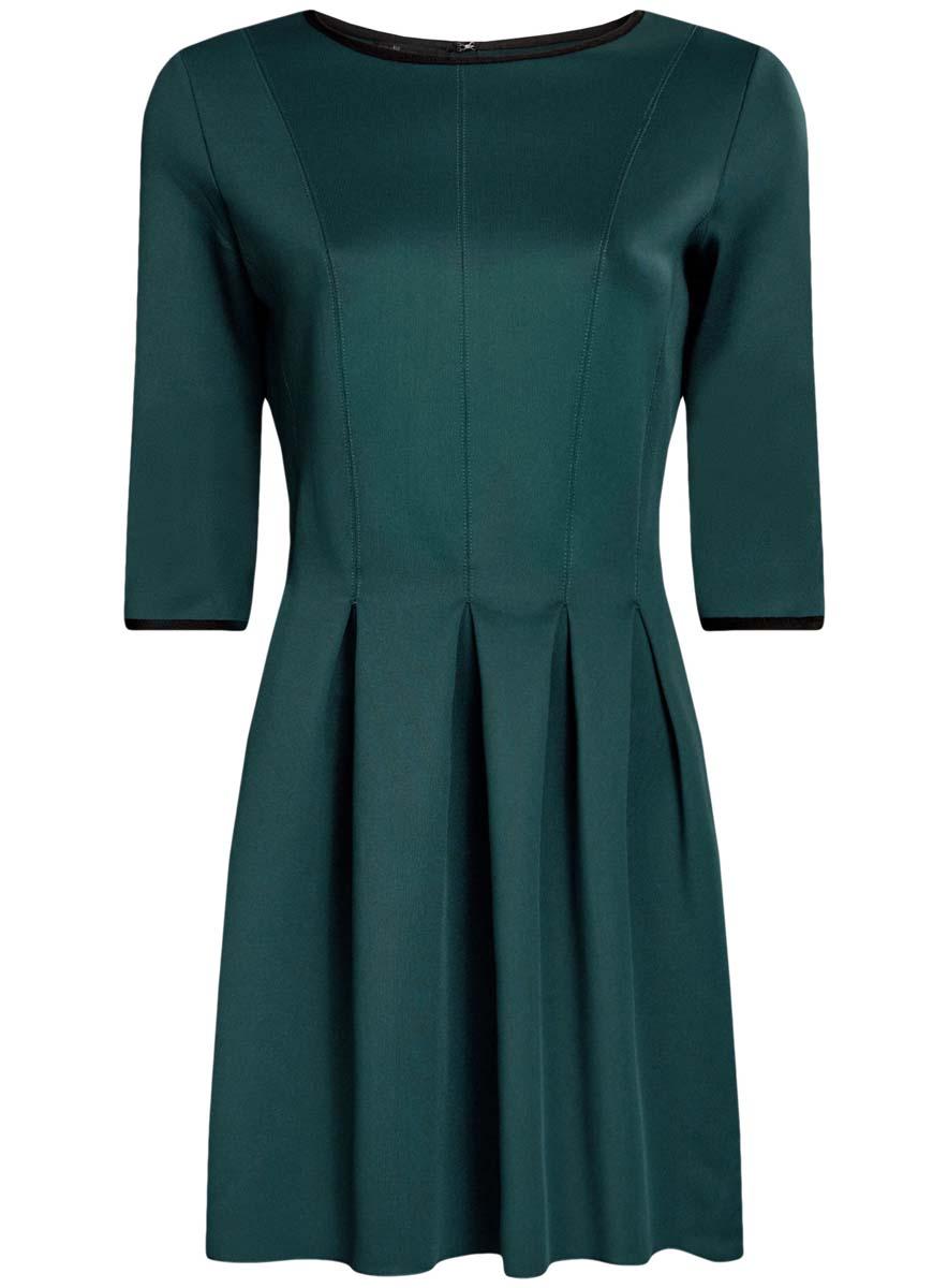 Платье oodji Ultra, цвет: темно-изумрудный. 14001148-1/33735/6E00N. Размер XS (42)14001148-1/33735/6E00NПлатье oodji Ultra изготовлено из эластичной плотной облегающей ткани. Модель имеет юбку с клиньями, рукава 3/4, круглый вырез воротника и застегивается на крючок сзади.