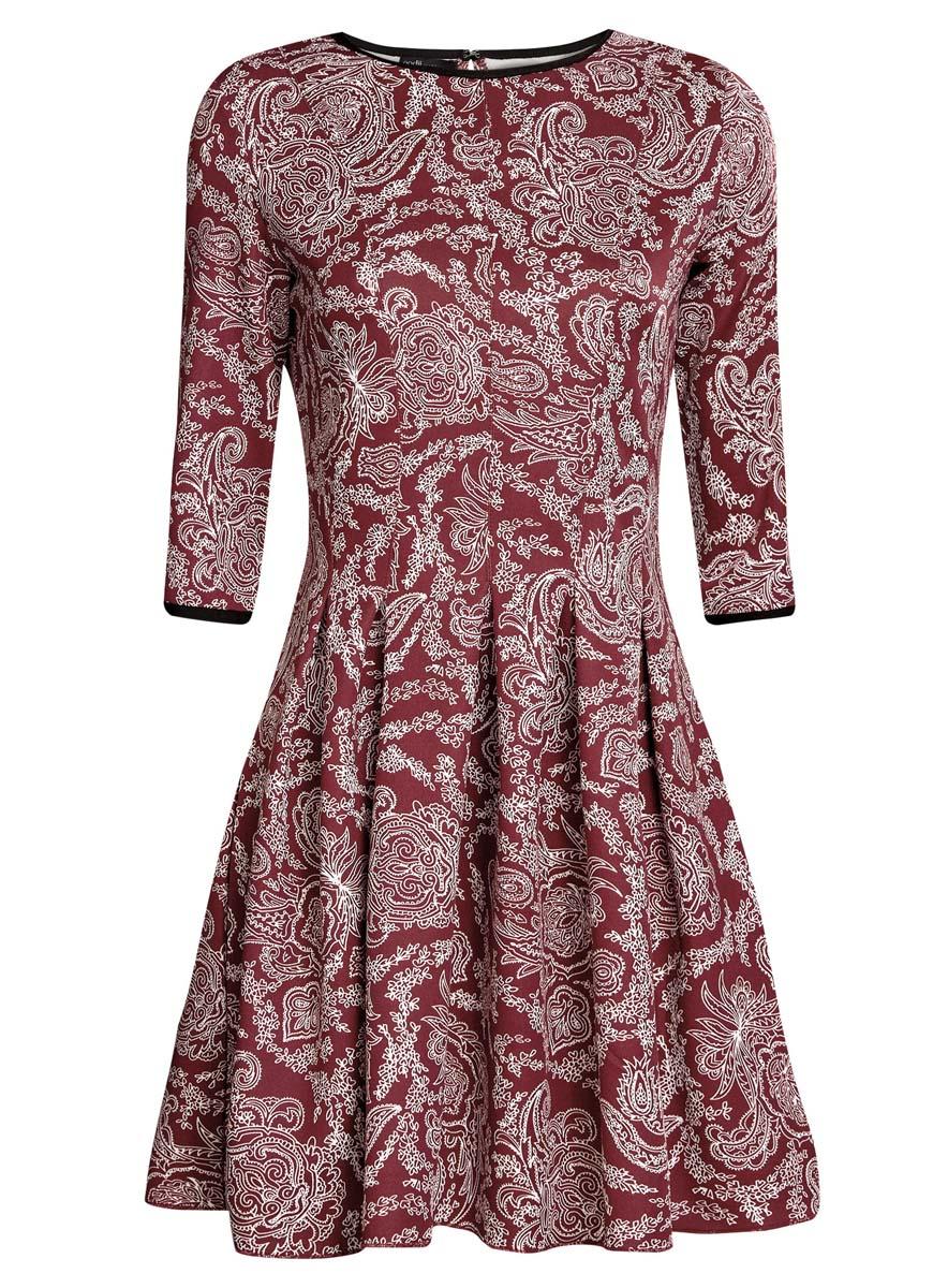 Платье oodji Ultra, цвет: бордовый, белый. 14001148-1/33735/4912E. Размер L (48) платье oodji collection цвет черный белый 24001104 1 35477 1079s размер l 48