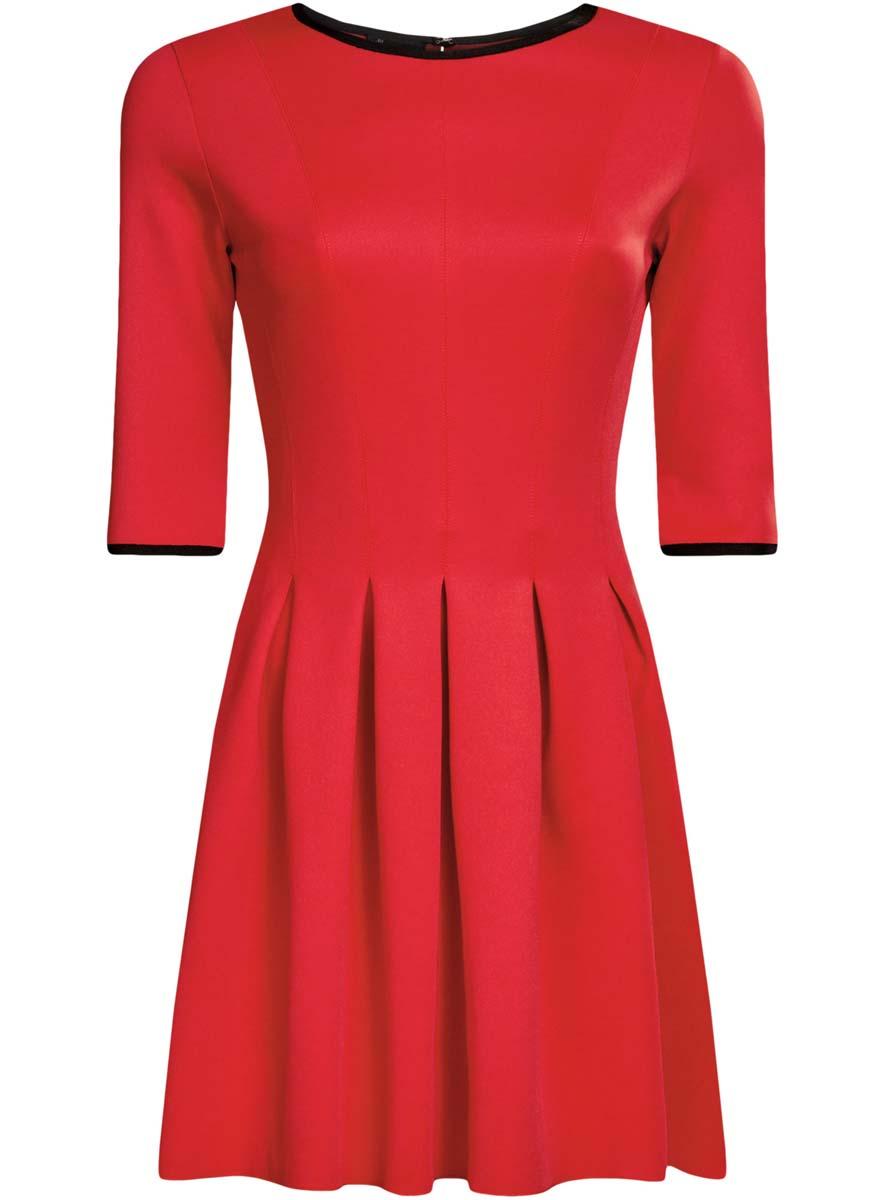 Платье oodji Ultra, цвет: красный. 14001148-1/33735/4500N. Размер XL (50)14001148-1/33735/4500NПлатье oodji Ultra изготовлено из эластичной плотной облегающей ткани. Модель имеет юбку с клиньями, рукава 3/4, круглый вырез воротника и застегивается на крючок сзади.