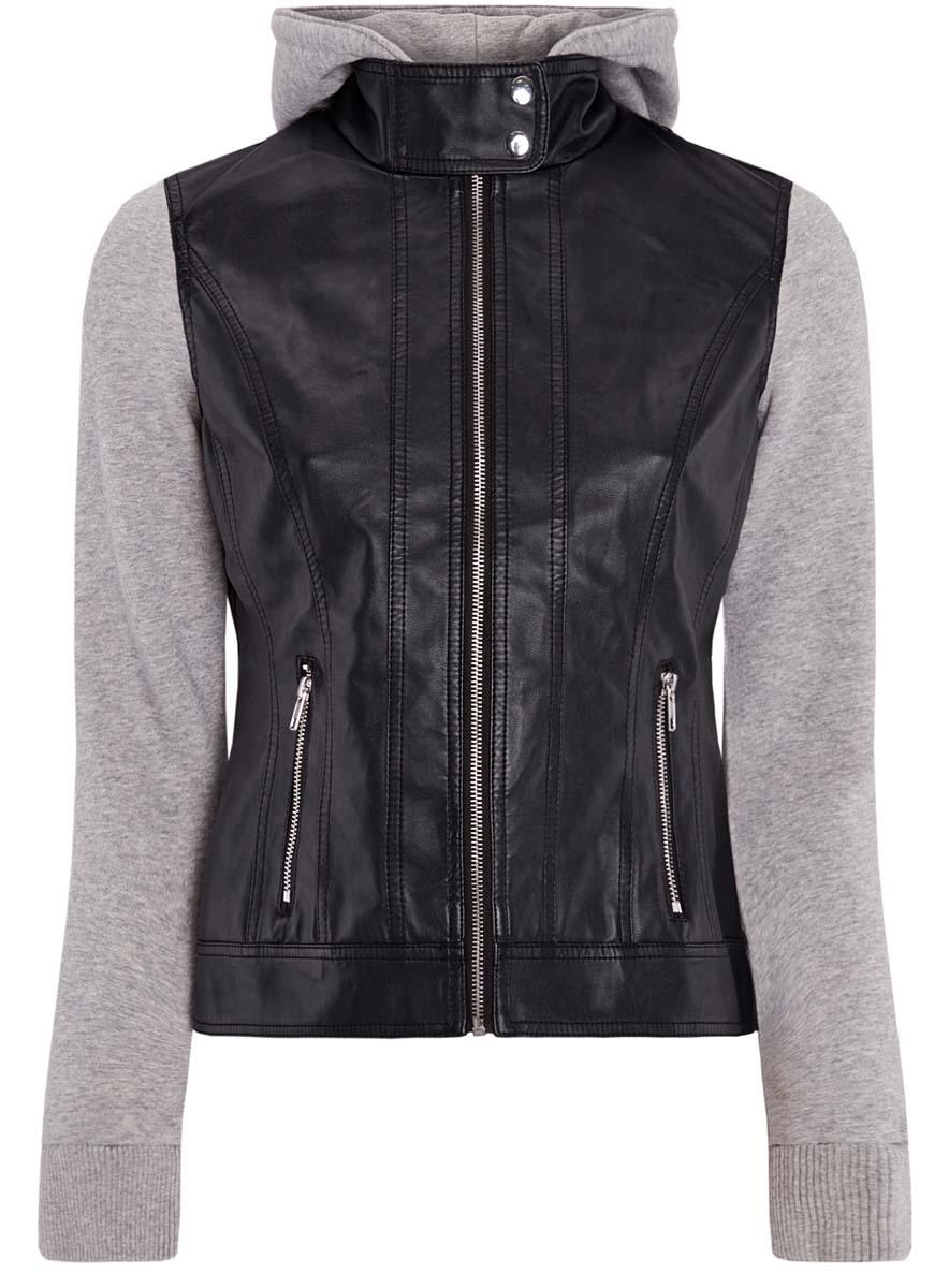 Куртка женская oodji Ultra, цвет: черный, серый. 18A03003/31674/2923B. Размер 40 (46-170)18A03003/31674/2923BСтильная женская куртка выполнена из искусственной кожи, рукава и капюшон из мягкого трикотажа. Модель с воротником-стойкой и съемным капюшоном застегивается спереди на молнию и кнопки на воротнике. Капюшон пристегивается при помощи пуговиц. Спереди куртка дополнена двумя прорезными карманами на застежках-молниях.
