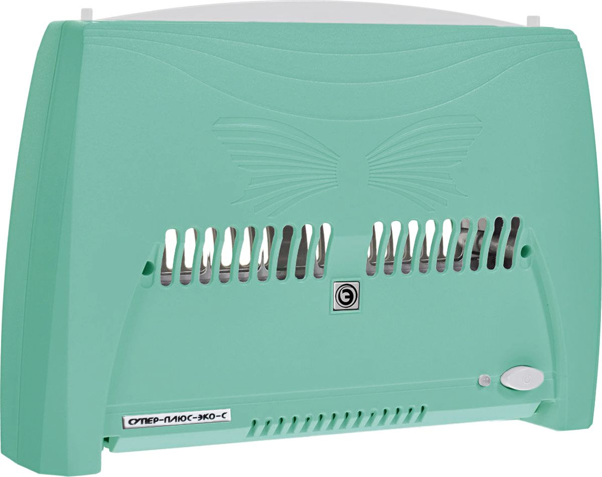 """Супер Плюс ЭкоС 2008 очиститель воздуха, цвет зеленыйСупер Плюс ЭкоС - 2008 зеленыйВоздухоочиститель Супер Плюс ЭкоС (Модель 2008) является усовершенствованной моделью воздухоочистителя """"Супер Плюс Эко"""".В кассете прибора расположена дополнительная осадительная пластина, что позволило увеличить площадь осаждения мелкодисперстной пыли и других частиц в 2 раза, а также повысить коэффициент фильтрации на 20 %. Также в приборе введен дополнительный коронирующий электрод, что помогло увеличить скорость воздушного потока, а следовательно увеличило объем прокачиваемого воздуха. Новый блок управления имеет 3 режима работы, которые отличаются друг от друга разными временными интервалами между работой и """"отдыхом"""" прибора, что позволяет наиболее эффективно использовать воздухоочиститель в помещениях разного объема. Также данный блок управления имеет электронную систему контроля загрязненности кассеты, которая информирует о необходимости чистки воздухоочистителя. Работа прибора основана на принципе «ионного ветра», который возникает в результате коронного разряда и обеспечивает движение воздуха через кассету прибора. Частицы пыли и аэрозоля, находящиеся в воздухе и невидимые невооруженным глазом, прокачиваются вместе с воздухом через кассету, ионизируются, т.е. приобретают электрический заряд, и под действием электростатического поля прилипают к пластинам, расположенным внутри кассеты.Воздух, проходящий через кассету, также обогащается озоном. Но количество озона, которое образуется в зоне коронного разряда, заметно меньше предельно допустимой концентрации (ПДК). И все же его достаточно для того, чтобы в помещении, в котором работает прибор, уничтожались неприятные запахи, подавлялась жизнедеятельность болезнетворных микробов, бактерий, спор грибков, плесени.Одновременно с очисткой происходит ионизация воздуха. Ионами кислорода обогащается воздух, уже очищенный от пыли! Воздухоочиститель создает оптимальный уровень ионизации воздуха в помещении в соответствии с природными показа"""