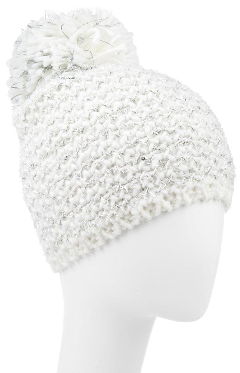 Шапка для девочки Icepeak, цвет: молочный. 652809615IV. Размер универсальный