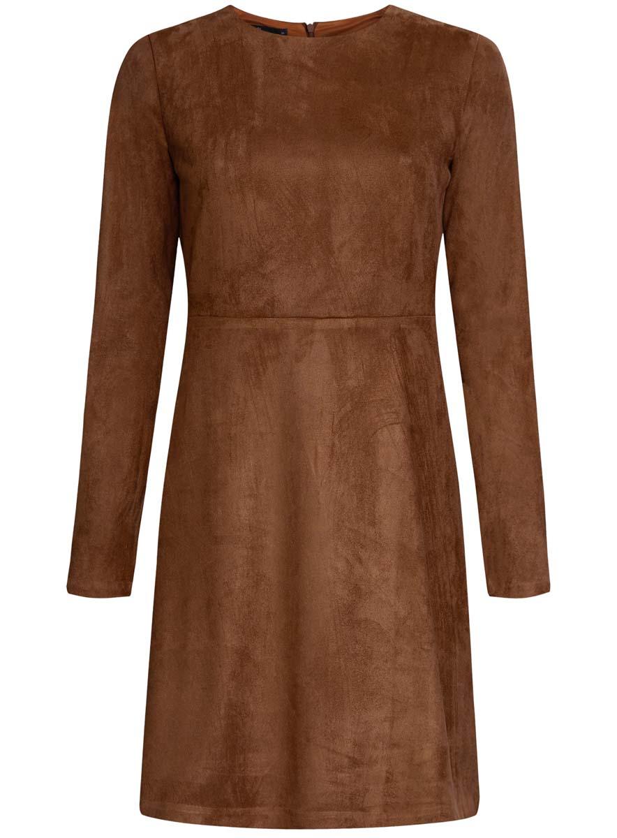 Платье oodji Ultra, цвет: терракотовый. 18L02001/45870/3100N. Размер 44 (50-170)18L02001/45870/3100NПлатье oodji Ultra изготовлено из полиэстера с добавлением эластана. На ощупь ткань напоминает искусственную замшу. Верх платья выполнен с длинными рукавами и круглым вырезом воротника. У модели имеется подкладка, низ платья свободного кроя. Модель застегивается на пластиковую застежку-молнию, расположенную на спинке от самого верха и до пояса.