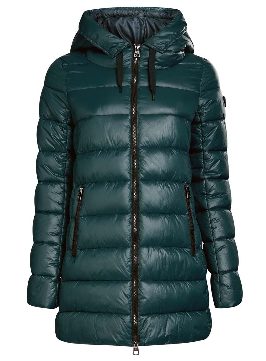 Куртка женская oodji Collection, цвет: темно-бирюзовый. 20204051-1/45911/6C00N. Размер 36 (42-170)20204051-1/45911/6C00NЖенская куртка oodji Collection изготовлена из высококачественного полиамида. В качестве утеплителя используется полиэстер.Модель с несъемным капюшоном застегивается на застежку-молнию. Спереди расположены два прорезных кармана с застежками-молниями, с внутренней стороны - накладной кармашек на кнопке.Манжеты рукавов присборены на тонкую резинку. Низ изделия регулируется с помощью эластичного шнурка.
