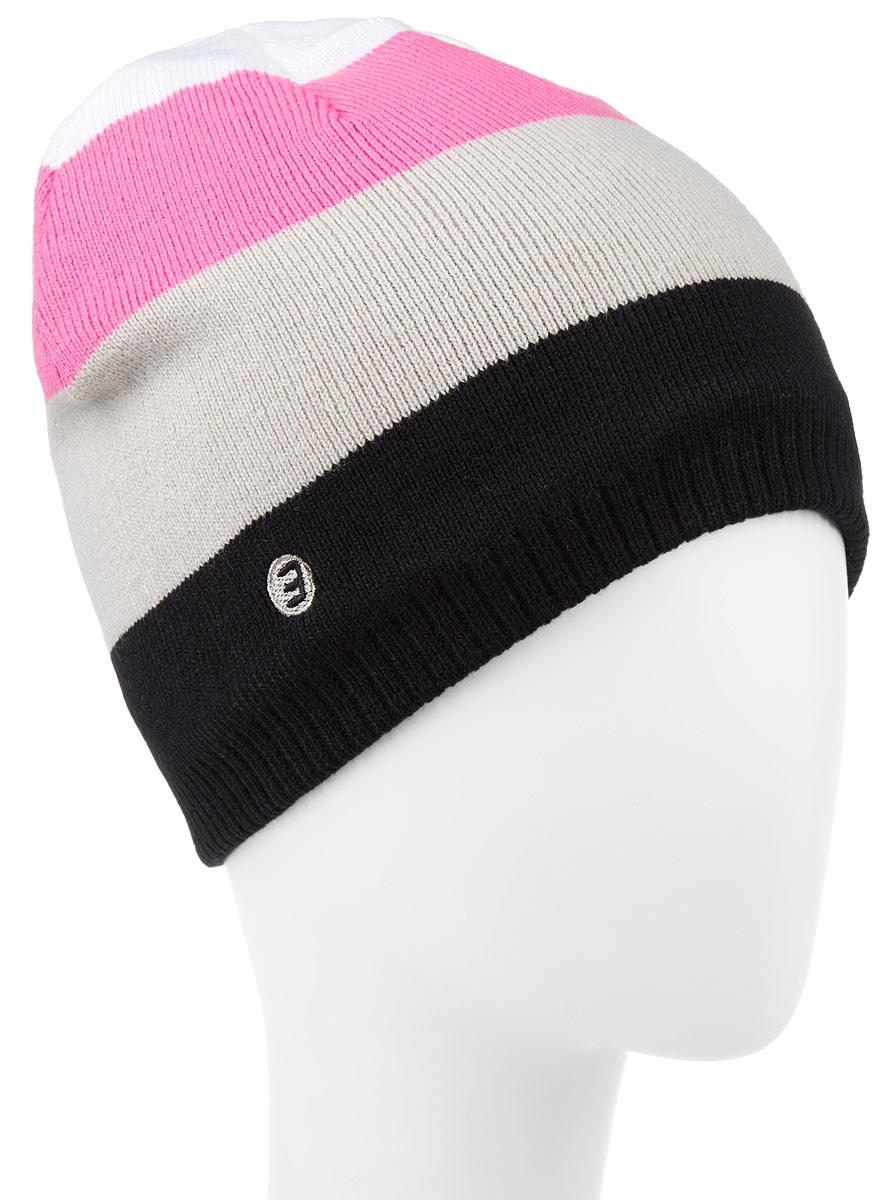 Шапка Icepeak, цвет: черный, розовый. 658813579IV. Размер универсальный658813579IVВязанная шапка Icepeak изготовлена из высококачественного 100% акрила. Подкладка выполнена из мягкого полиэстера. Модель оформлена принтом в полоску, а по низу дополнена триктажной резинкой. Изделие прекрасно подойдет для повседневной носки и активных занятий спортом.