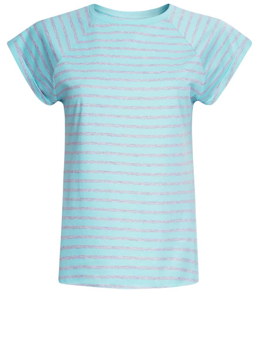 Футболка женская oodji Ultra, цвет: бирюзовый, серый. 14707001-4B/46154/7379S. Размер M (46)14707001-4B/46154/7379SЖенская футболка выполнена из хлопка. Модель с круглым вырезом горловины и короткими рукавами реглан, дополненными отворотом.