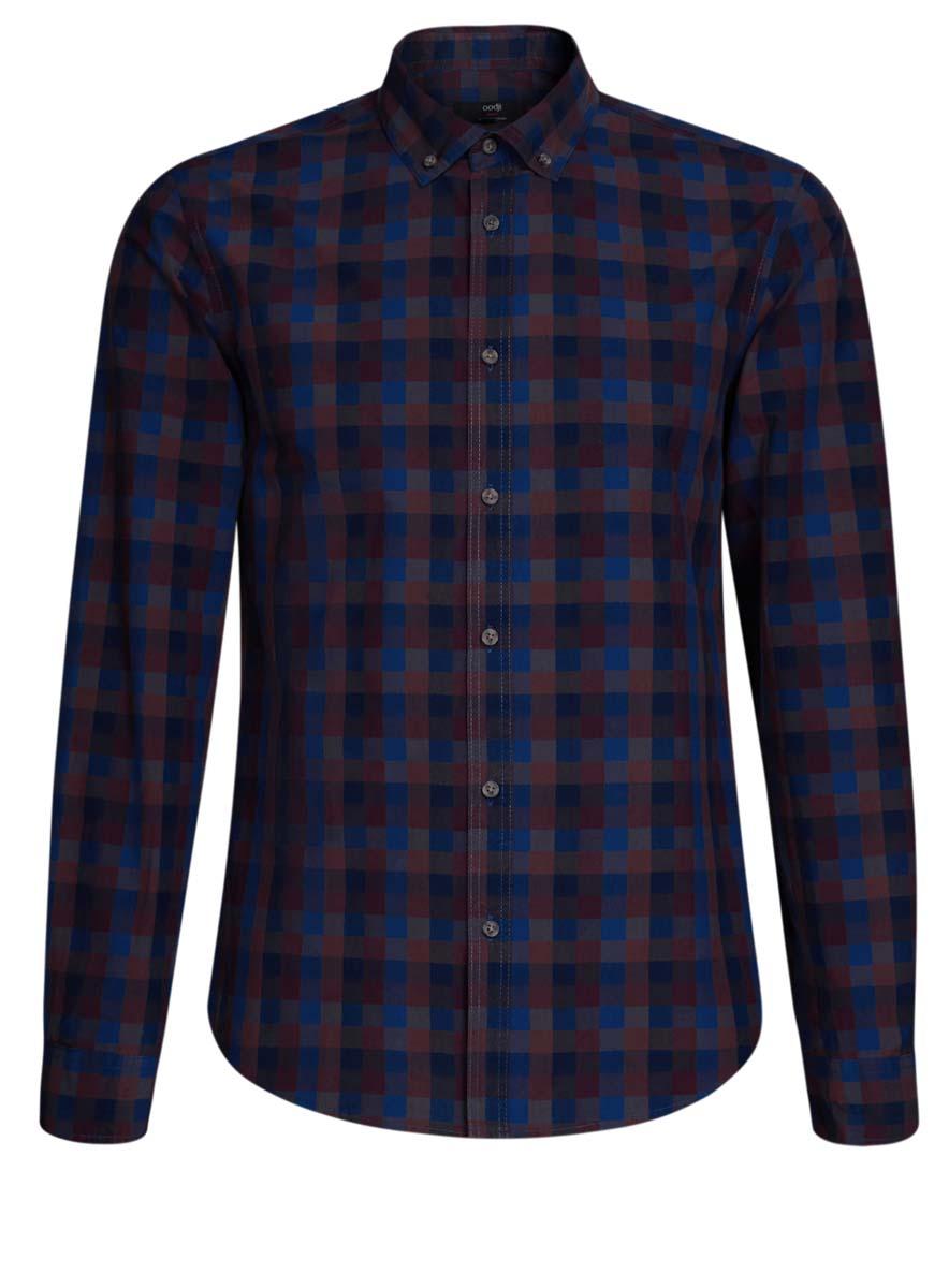 Рубашка мужская oodji, цвет: коричневый, синий. 3L310132M/39511N/4979C. Размер L (52/54-182)3L310132M/39511N/4979CСтильная мужская рубашка oodji выполнена из натурального хлопка. Модель с отложным воротником и длинными рукавами застегивается на пуговицы спереди. Манжеты рукавов дополнены застежками-пуговицами. Оформлена рубашка принтом в клетку.