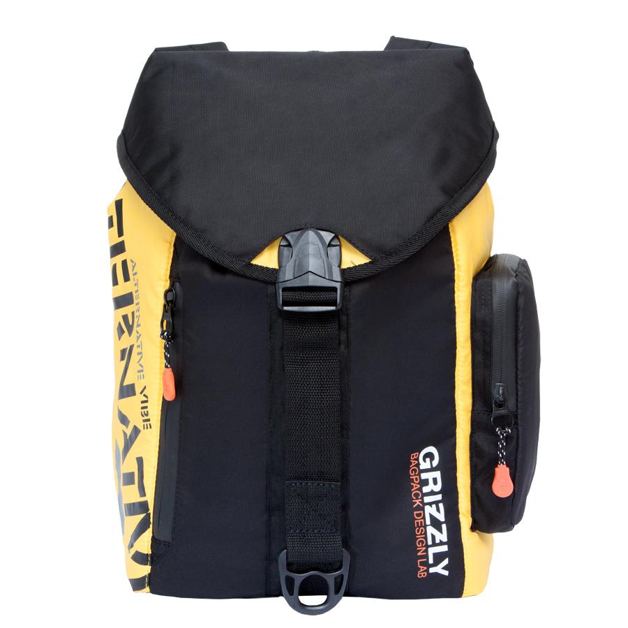 Рюкзак городской  Grizzly , цвет: черный, желтый, 16 л. RU-615-1/2 - Рюкзаки