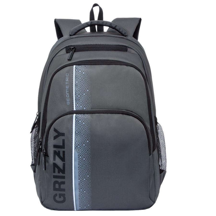 Рюкзак городской мужской Grizzly, цвет: темно-серый, 24 л. RU-707-1/4RU-707-1/4Рюкзак городской Grizzl выполнен из высококачественного полиэстера и оформлен оригинальным фирменным принтом. Рюкзак имеет петлю для подвешивания и две удобные лямки, длина которых регулируется с помощью пряжек. На лицевой стороне расположено два объемных кармана на молнии, один из которых содержит карман с сеткой на молнии и открытые накладные карманы для канцелярских принадлежностей. Также на лицевой стороне расположен небольшой карман на молнии для мелочей. Рюкзак оснащен двумя боковыми карманами на молнии. Изделие застегивается на застежку-молнию. Внутри расположено главное вместительное отделение, которое содержит вшитый карман на молнии для мелочей и отделение для ноутбука , которое закрывается хлястиком на застежку-липучку.