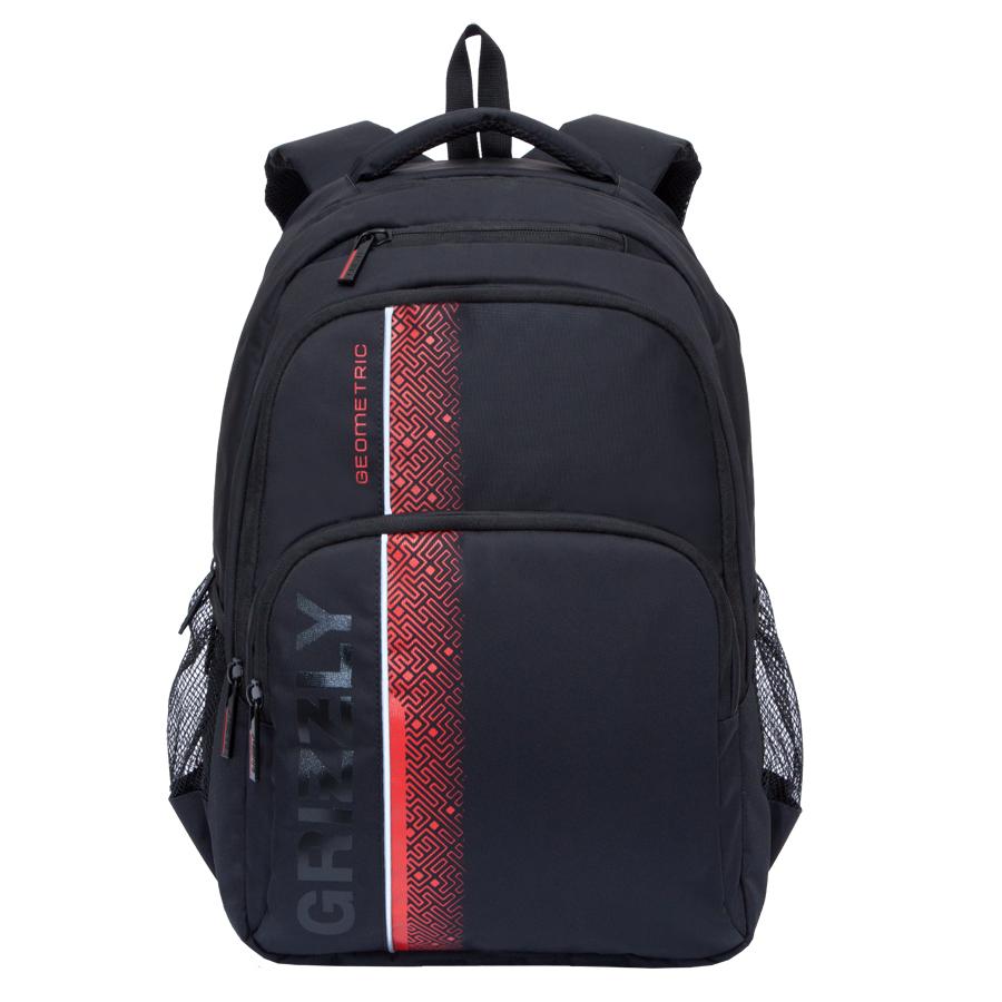 Рюкзак городской мужской Grizzly, цвет: черный, красный, 24 л. RU-707-1/1