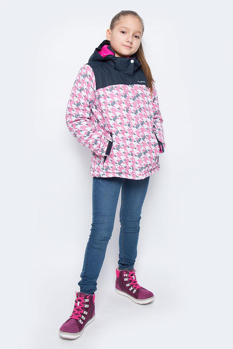 Куртка для девочки Icepeak Helga Jr, цвет: розовый, черный. 650028502IV. Размер 140650028502IVКуртка для девочки Icepeak Helga Jr выполнена из прочного текстиля с водонепроницаемой и воздухопроницаемой мембраной Icemax 5000/2000 г/м2 /24 ч, которая защищает от ветра и влаги даже в экстремальных условиях. Модель с капюшоном и воротником стойкой застегивается на молнию с защитой подбородка и дополнена ветрозащитным клапаном на липучках. Капюшон пристегивается при помощи кнопок. Манжеты рукавов регулируются по ширине за счет хлястиков с липучками. Спереди модель дополнена двумя прорезными карманами на застежках-молниях, на рукаве имеется скрытый карман на молнии, с внутренней стороны расположен один накладной карман. Куртка оснащена светоотражающими элементами.Водонепроницаемая мембрана 5000 mm.