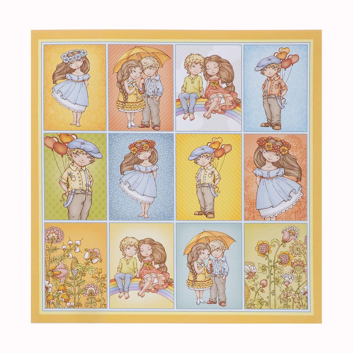 Бумага для скрапбукинга ScrapBerrys Мальчик и девочка, двухсторонняя, 30,5 х 30,5 см, 10 листов. 488627488627
