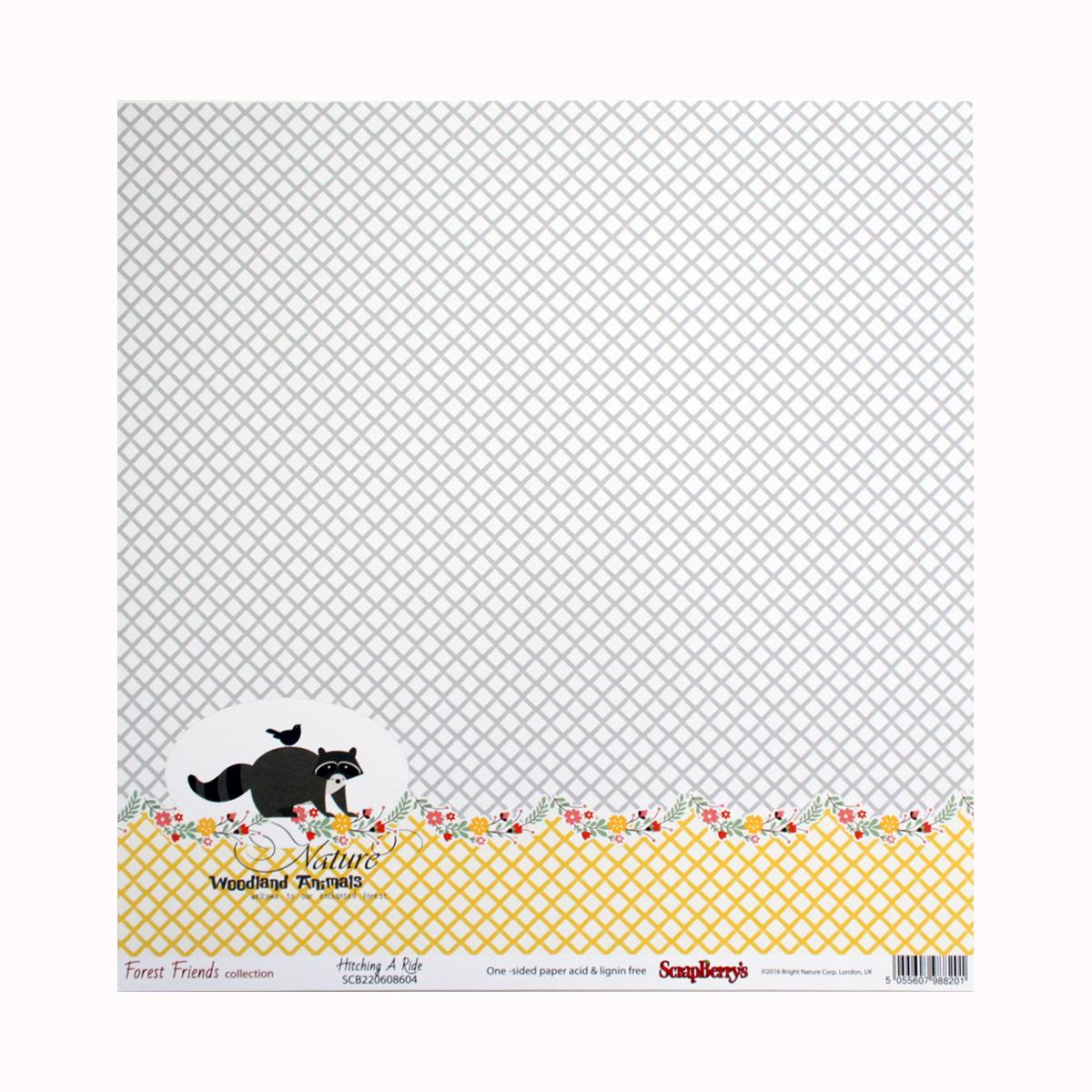 Бумага для скрапбукинга ScrapBerrys Лес чудес. Лесные друзья, 30,5 х 30,5 см, 10 листов. 497126497126
