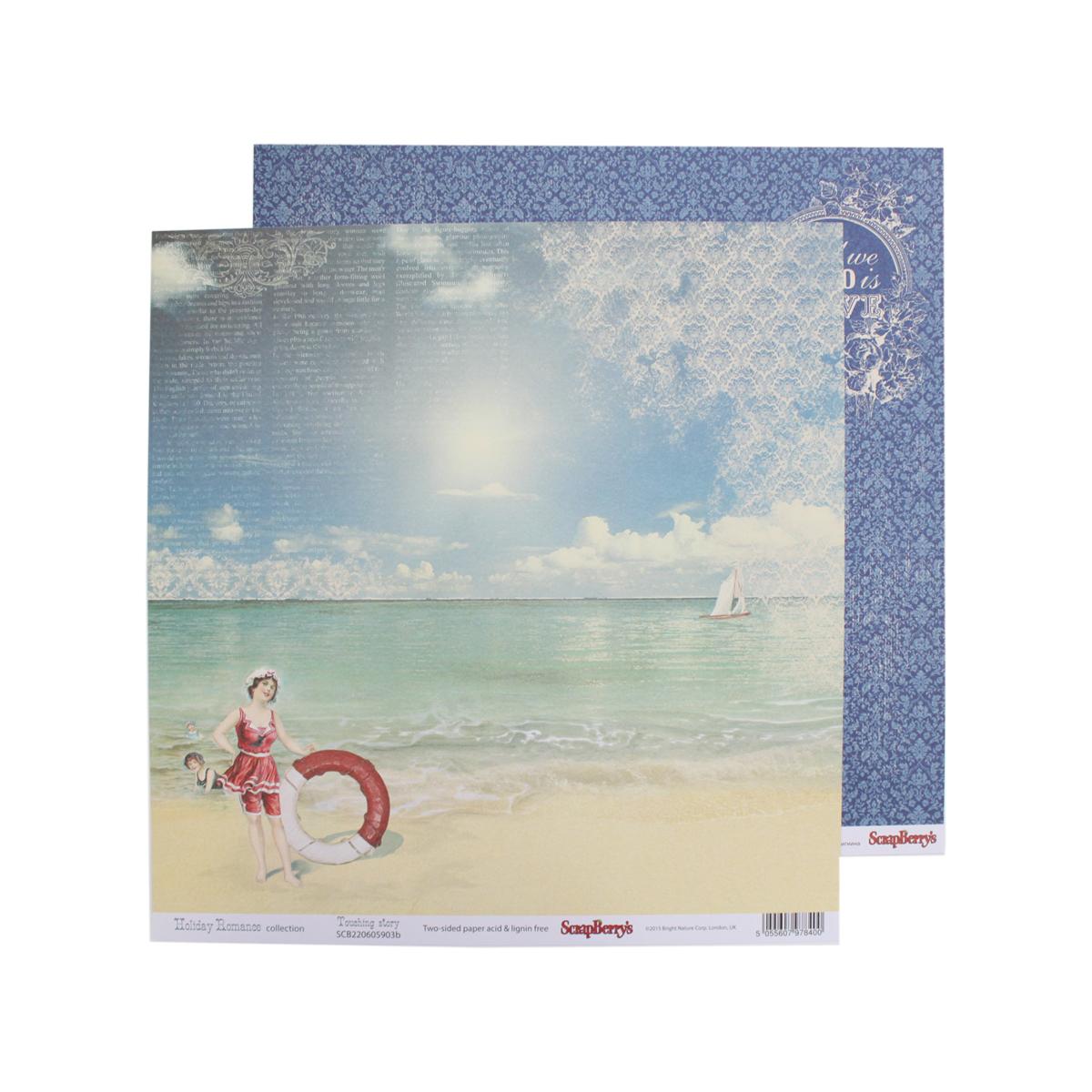 Бумага для скрапбукинга ScrapBerrys Курортный роман. Прикосновение лета, двухсторонняя, 30,5 х 30,5 см, 10 листов. 497152497152
